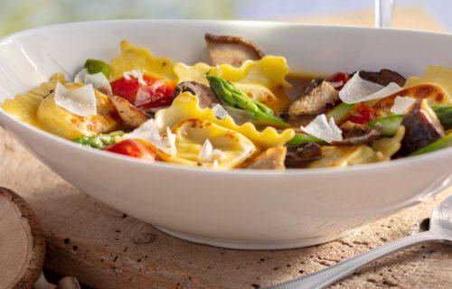 chicken ravioli with porcini mushroom broth